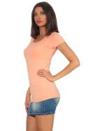 Jela London Damen Longshirt T-Shirt Stretch Rundhals, Pfirsisch 36-38 (L)