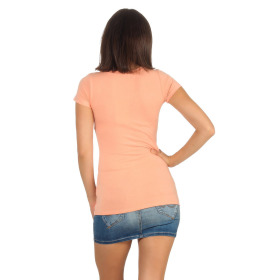 Jela London Damen Longshirt T-Shirt Stretch Rundhals, Pfirsisch 38-40 (XL)