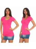 Jela London Damen Longshirt T-Shirt Stretch Rundhals, Pink 34-36 (M)