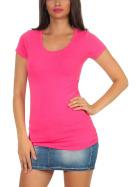 Jela London Damen Longshirt T-Shirt Stretch Rundhals, Pink 36-38 (L)