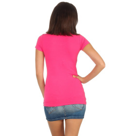 Jela London Damen Longshirt T-Shirt Stretch Rundhals, Pink 38-40 (XL)
