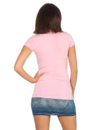 Jela London Damen Longshirt T-Shirt Stretch Rundhals, Rosa 34-36 (M)
