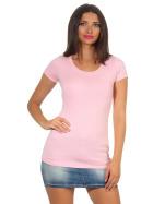 Jela London Damen Longshirt T-Shirt Stretch Rundhals, Rosa 38-40 (XL)