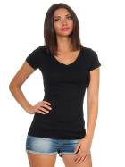 Jela London Damen Longshirt T-Shirt Stretch V-Ausschnitt, Schwarz 36 (M)