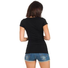 Jela London Damen Longshirt T-Shirt Stretch V-Ausschnitt, Schwarz 38 (L)