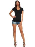 Jela London Damen Longshirt T-Shirt Stretch V-Ausschnitt, Schwarz 40 (XL)