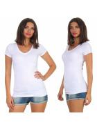 Jela London Damen Longshirt T-Shirt Stretch V-Ausschnitt, Weiß 36 (M)