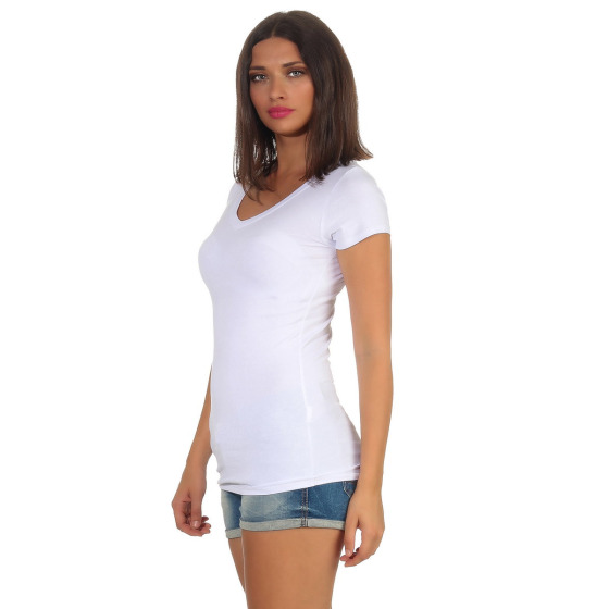 Jela London Damen Longshirt T-Shirt Stretch V-Ausschnitt, Weiß 40 (XL)