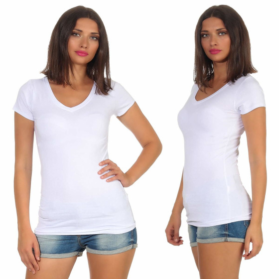 Jela London Damen Longshirt T-Shirt Stretch V-Ausschnitt, Weiß 42 (XXL)