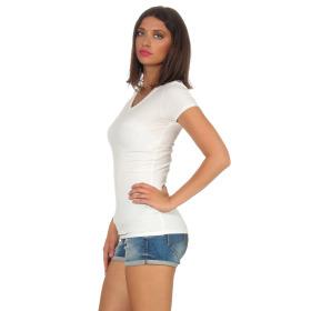 Jela London Damen Longshirt T-Shirt Stretch V-Ausschnitt, Creme 36 (M)