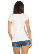 Jela London Damen Longshirt T-Shirt Stretch V-Ausschnitt, Creme 42 (XXL)