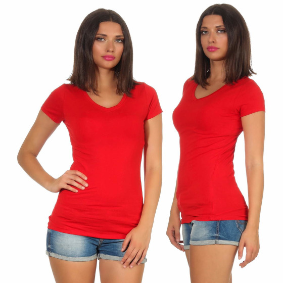 Jela London Damen Longshirt T-Shirt Stretch V-Ausschnitt, Rot 36 (M)