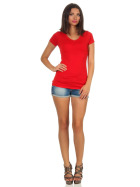 Jela London Damen Longshirt T-Shirt Stretch V-Ausschnitt, Rot 36 (M)