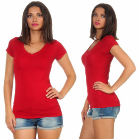 Jela London Damen Longshirt T-Shirt Stretch V-Ausschnitt, Dunkelrot 36 (M)