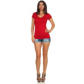 Jela London Damen Longshirt T-Shirt Stretch V-Ausschnitt, Dunkelrot 40 (XL)