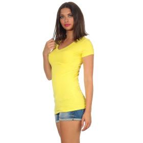 Jela London Damen Longshirt T-Shirt Stretch V-Ausschnitt, Gelb 36 (M)