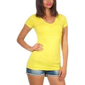 Jela London Damen Longshirt T-Shirt Stretch V-Ausschnitt, Gelb 40 (XL)