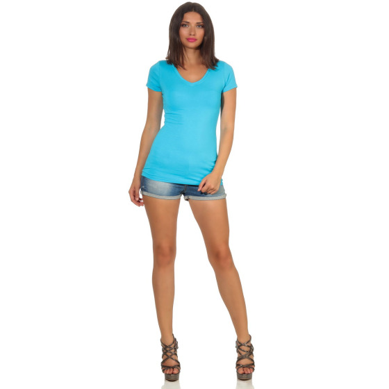 Jela London Damen Longshirt T-Shirt Stretch V-Ausschnitt, Hellblau 36 (M)
