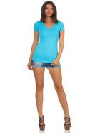 Jela London Damen Longshirt T-Shirt Stretch V-Ausschnitt, Hellblau 36 (M)