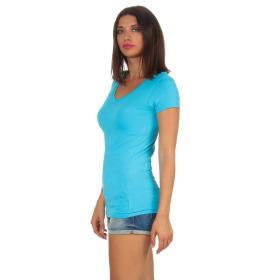 Jela London Damen Longshirt T-Shirt Stretch V-Ausschnitt, Hellblau 38 (L)