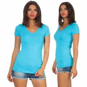 Jela London Damen Longshirt T-Shirt Stretch V-Ausschnitt, Hellblau 42 (XXL)