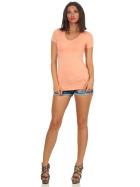 Jela London Damen Longshirt T-Shirt Stretch V-Ausschnitt, Pfirsisch 36 (M)