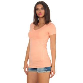 Jela London Damen Longshirt T-Shirt Stretch V-Ausschnitt, Pfirsisch 38 (L)