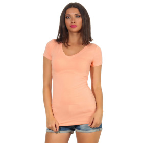 Jela London Damen Longshirt T-Shirt Stretch V-Ausschnitt, Pfirsisch 42 (XXL)