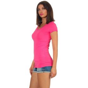 Jela London Damen Longshirt T-Shirt Stretch V-Ausschnitt, Pink 36 (M)