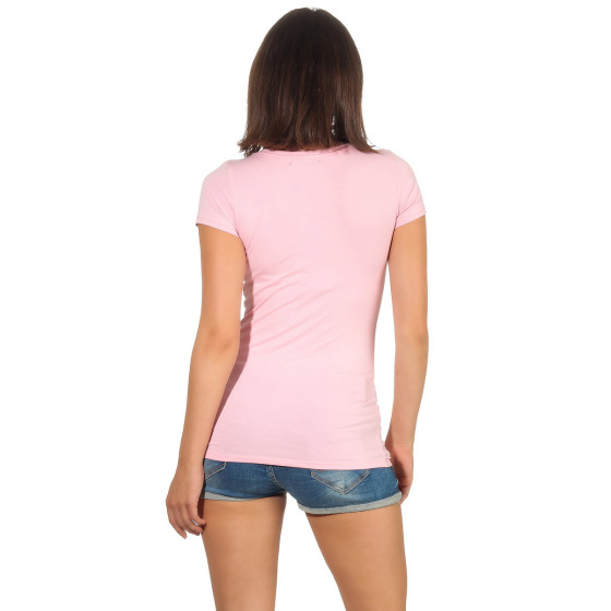 Jela London Damen Longshirt T-Shirt Stretch V-Ausschnitt, Rosa 36 (M)