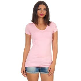 Jela London Damen Longshirt T-Shirt Stretch V-Ausschnitt, Rosa 36 (M)