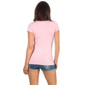 Jela London Damen Longshirt T-Shirt Stretch V-Ausschnitt, Rosa 38 (L)