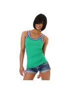 SL1 Damen Top Streifen Breite Träger Stretch Retro Feinripp, Grün 40 L