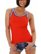 SL1 Damen Top Streifen Breite Träger Stretch Retro Feinripp, Rot 40 L