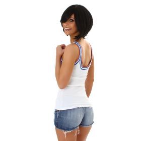 SL1 Damen Top Streifen Breite Träger Stretch Retro Feinripp, Weiß 40 L