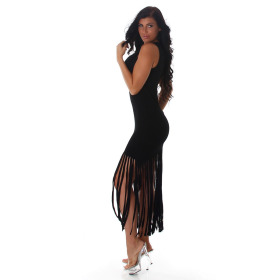 Jela London Damen Strickkleid Stretch Beinschlitz Rundhals, Schwarz 40 L