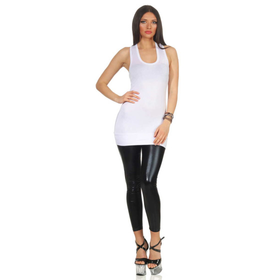 Jela London Basic Longtop Träger Tank-Top Racerback (32-36), Weiß