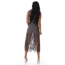 Jela London Damen Strickkleid Stretch Beinschlitz Rundhals, Grau 38 M
