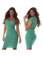 Jela London Damen Streifen Strickkleid Stretch V-Ausschnitt, Grün 36