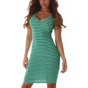 Jela London Damen Streifen Strickkleid Stretch V-Ausschnitt, Grün 38