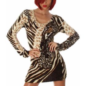 Luxestar Damen Longpulli Strickkleid Fransen Leopard Stretch, Beige