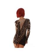 Luxestar Damen Longpulli Strickkleid Fransen Leopard Stretch, Hellbraun
