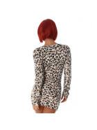 Luxestar Damen Longpulli Strickkleid Fransen Stretch, Leopard Creme