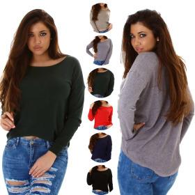 StyleLightOne Damen Weicher Vokuhila-Pullover Stretch...