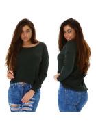 StyleLightOne Damener Vokuhila-Pullover Stretch, Grün