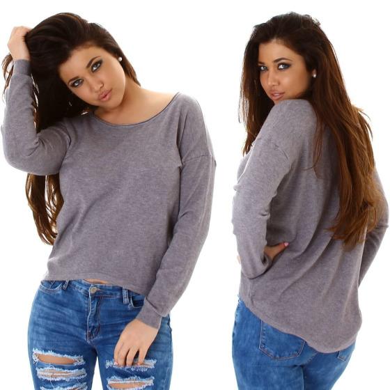 StyleLightOne Damener Vokuhila-Pullover Stretch, Grau