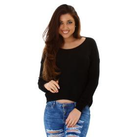 StyleLightOne Damener Vokuhila-Pullover Stretch, Schwarz