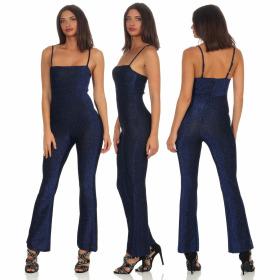 StyleLightOne Damen Glitzer Overall Reißverschluss Schlaghose, Blau 36/38 (M)