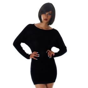 Jela London Damen Pulloverkleid Stretch tailliert zart, Schwarz 36/38