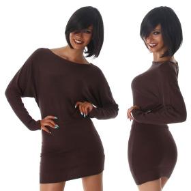 Jela London Damen Pulloverkleid Stretch tailliert zart, Braun 36/38